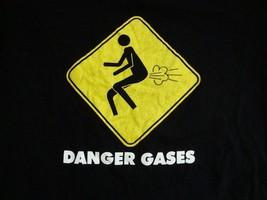 "Funny ""Danger Gases"" Farting Joke Black T Shirt Men's Size M - $15.83"