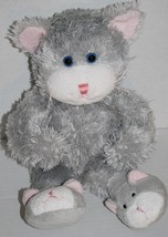 "Animal Adventure CAT 14"" Gray Slipper KITTEN Feet Soft Plush 2007 Stuffed Animal - $22.20"