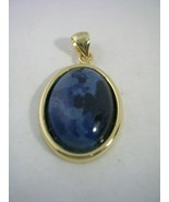 SODALITE OVAL PENDANT NATURAL GRAIN SET IN A GOLD TONED STERLING SILVER ... - $21.46