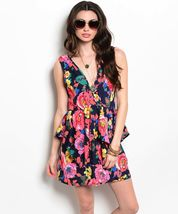 Flirty Pink Coral Floral Party Cruise Sleeveless Peplum Mini Dress Jrs S... - $24.99
