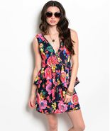 Flirty Pink Coral Floral Party Cruise Sleeveless Peplum Mini Dress Jrs S... - $24.99