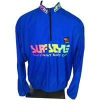"Vintage 90's SURF STYLE 3/4 Zip Pullover Jacket ""One Size"" Blue Windbreaker - $34.60"