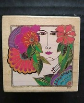 All Night Media Laurel Burch Rubber Stamp Blossoming Woman Floral Lady Face 941F - $15.95