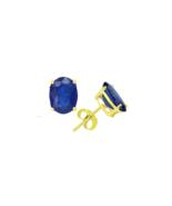 Women's 5x3 Oval Blue Sapphire Earrings in 14k Gold - $158.35