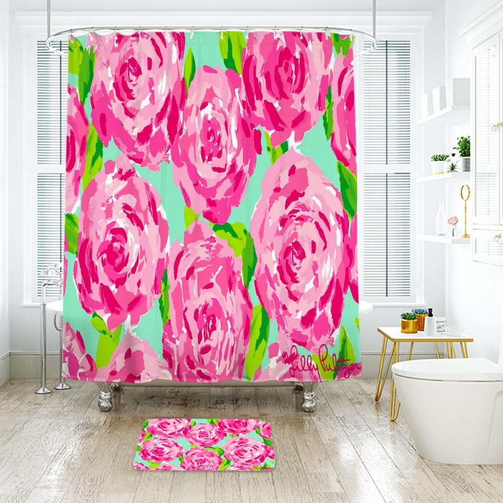 Flower Lilly First Impression2 Shower Curtain Waterproof & Bath Mat For Bathroom