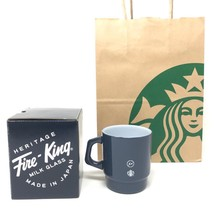 Starbucks Japan Fragment Design Fire King Glass Mug Cup 207ml navy LTD F... - $77.65