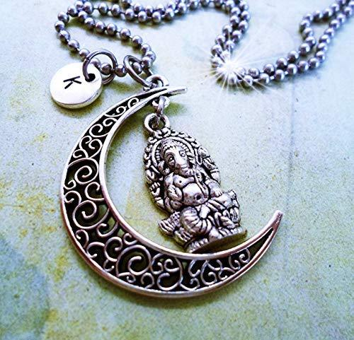 Primary image for Ganesha Filigree Crescent Moon Necklace with Letter Charm of Your Choice * Hand-