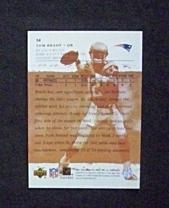2001 Upper Deck FX Football #54 Tom Brady [New England Patriots] Rookie Repro