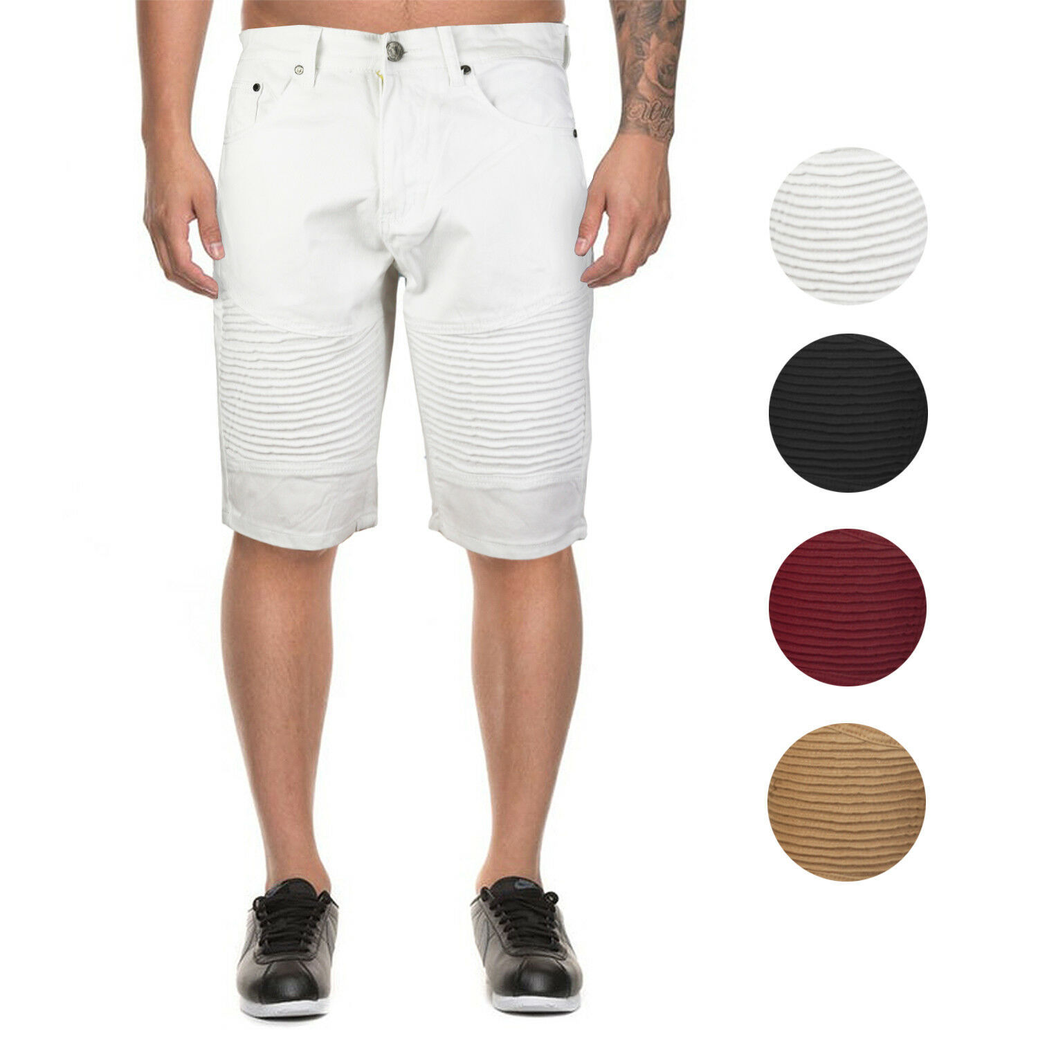 Marx & Dutch Men's Moto Biker Quilted Slim Fit Cotton Stretch Twill Shorts