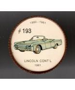 1961 LINCOLN CONT'L  Jell-O Picture Wheel #193 - $5.00