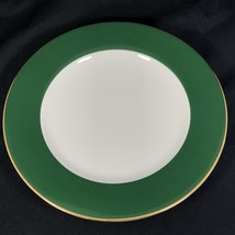 """Crate & Barrel Green Gold Banded Dinner Plate 10 3/8"""" - $19.79"""