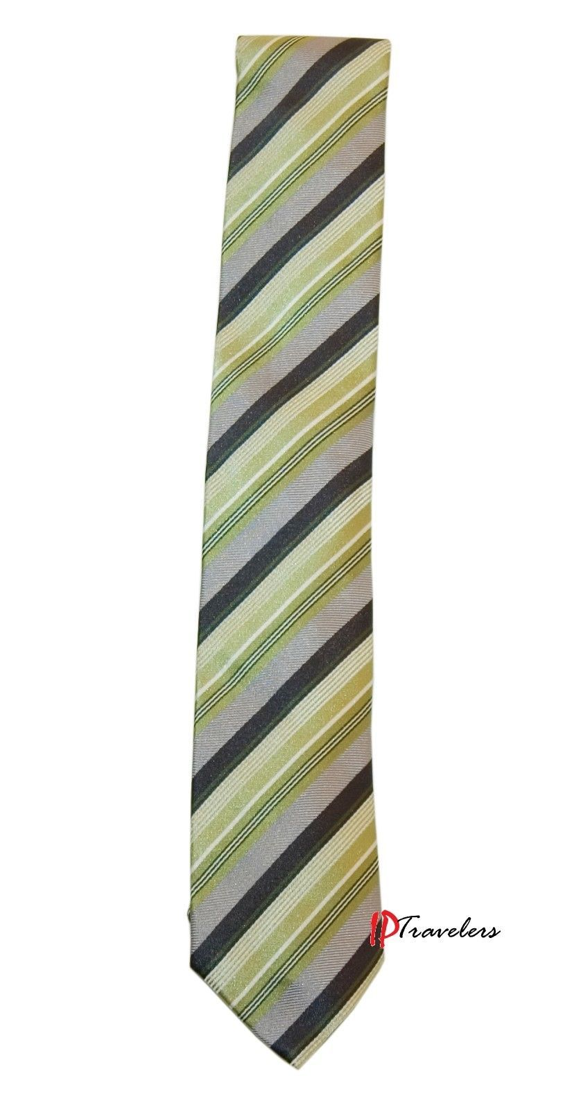 Primary image for Geoffrey Beene Men's Neck Tie Green, Gray, Black and White Stripes 100% Silk $55