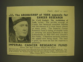 1955 Imperial Cancer Research Fund Ad - His grace The Archbishop of York  - $14.99