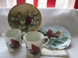 "Cardinals-Lenox-George-McClung-Stine-2 cups/mugs-2 8"" plates unused - $40.00"