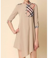 New Boutique London Trench Tunic Dress Nova Check Plaid Beige Tan S M L XL - $49.99
