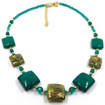 """NECKLACE WITH GREEN MURANO SQUARE GLASS & GOLD LEAF, MADE IN ITALY, 50cm, 20"""" image 1"""