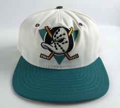 Anaheim Mighty Ducks Snapback Baseball Hat - White Teal Mask AJD Vintage... - $49.49