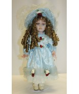 """15-1/2"""" Porcelain Doll Brown Curly Hair Blue Eyes and Dress with Bonnet - $19.79"""