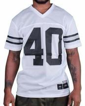 1183ml New York Forty Ounce Nyc Blanc Maille Noir de Football Chemise 03493F Nwt