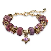 "PalmBeach Jewelry Purple Crystal Antiqued Gold Tone Bali-Style Bracelet 8""-10"" - $22.49"
