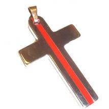 Tungsten Fireman Thin Red Line Cross Key Ring Pendant - $33.61