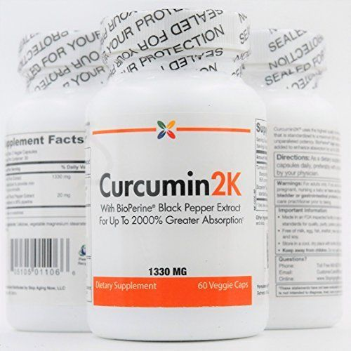 Stop Aging Now | Curcumin2K 1330 mg Formula | BioPerine  Enhanced|60 veggie caps