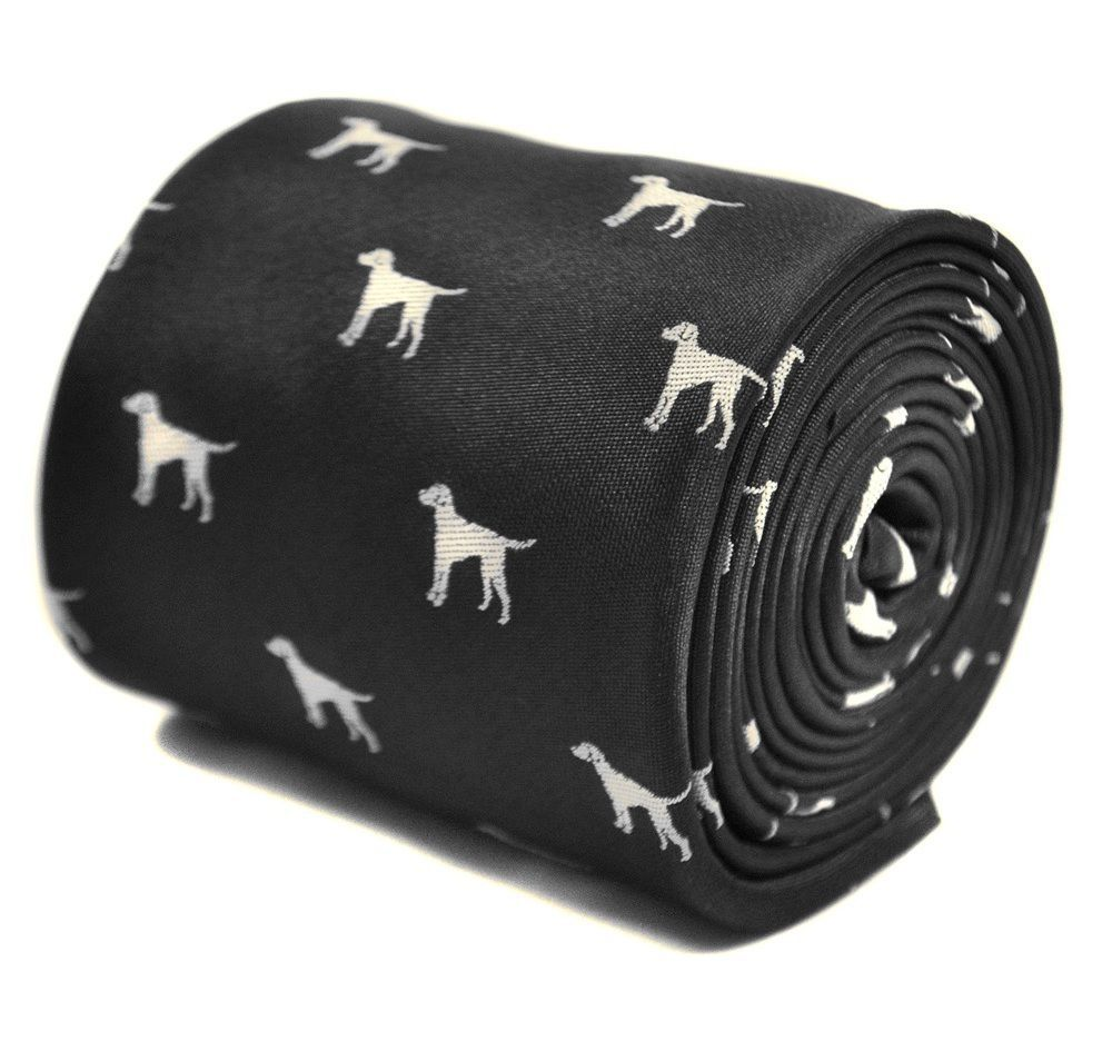 Frederick Thomas Black Mens Tie with Dog Outline Design FT3297