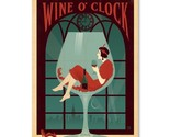 Vintage Antique Wine O' Clock Wall Art Decor Gallery Print Bar woman heels gift