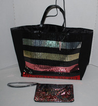 Victorias Secret Large Sequin Tote & Make-up Bag Black Logo NEW Christma... - $59.36