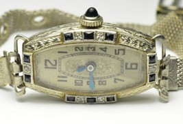 Antique 18K White Gold Vintage Cornavin Watch Diamonds Sapphires - Lengt... - $695.00