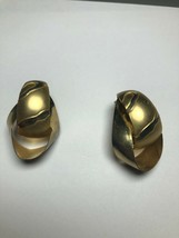 Vintage Costume Jewelry Earrings Gold Tone Double Hoops - $3.74
