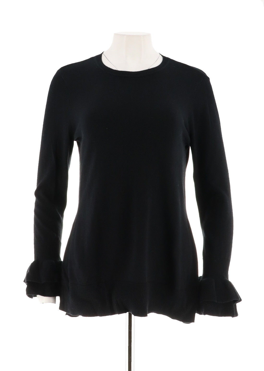 Primary image for Isaac Mizrahi Ruffle Bell Slv Tunic Sweater Black S NEW A296763