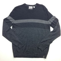 Calvin Klein Mens Sweater Small Gray Black Italian Wool Blend Yarn B51-08 - $28.98