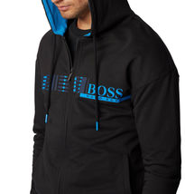Hugo Boss Hooded Loungewear Jacket In Cotton Terry With Geometric Pattern image 3