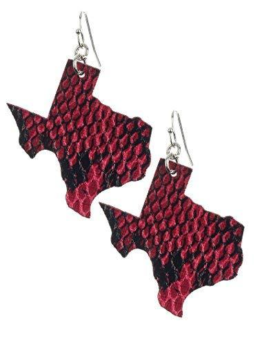 Light Weight State of Texas Dangle Earrings Faux Leather (Fuchsia Pink Snake)