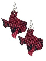 Light Weight State of Texas Dangle Earrings Faux Leather (Fuchsia Pink Snake) image 1
