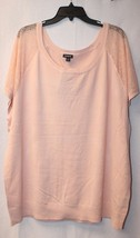 New Torrid Womens Plus Size 4X 4 Light Pink Perforated Lace Sleeve Shirt Top - $23.21