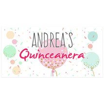 Balloons Quinceañera Birthday Banner Personalized Party Backdrop - $23.88