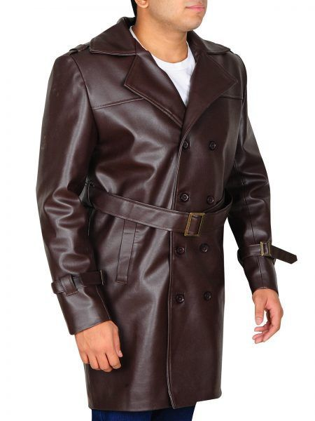 New Winter Genuine Real  Men Leather Trench Log Coat