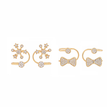 Bowknot Star Heart Clip Earrings for Girls Best Friend Korean Style Jewelry - $12.47