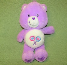 "CARE BEARS PURPLE SHARE BEAR 13"" 2002 DOUBLE LOLLIPOP PLUSH STUFFED TOY ... - $14.85"