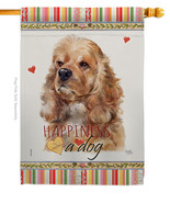 Cocker Spaniel Happiness - Impressions Decorative House Flag H110143-BO - $40.97