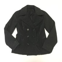 Express Womens S Quilted Jacket Black Double Breasted Vinyl Rain Coat Fi... - $25.64