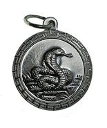 Chinese year of the Snake Zodiac calendar charm Sterling Silver 925 Round - $27.23