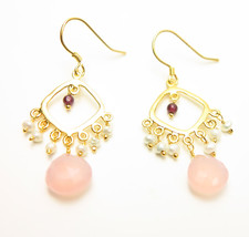 Garnet Freshwater Pearl Sterling Drop Triple Dangle Earrings - $22.74