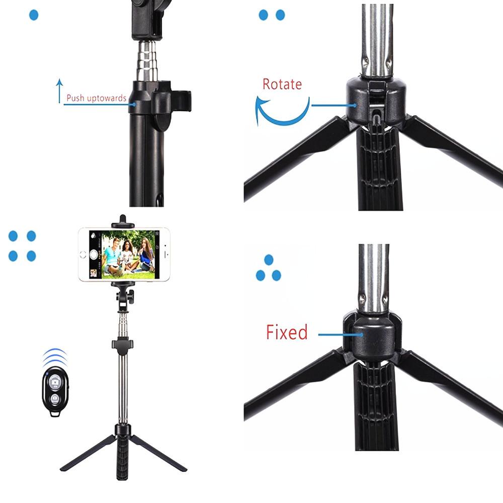 Non-slip Bluetooth Control Selfie Stick w/ Tripod Handheld Extendable Monopod
