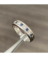 Vintage Sapphire And Diamond Ring 18k White Gold Size M Half Eternity BHS - $613.40