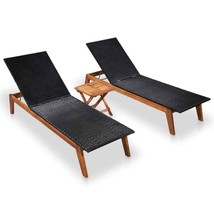 vidaXL 2x Solid Wood Sunlounger w/ Table Poly Rattan Reclining Patio Garden - $218.99