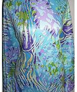 Teal Tropical Colored Zebra Print Nylon Lycra Stretch Fabric 1 Yard 18 I... - $35.00