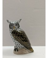 Herend Great Horned Owl Figurine Black Fishnet,HAND PAINTED 24K GOLD ACC... - $346.50
